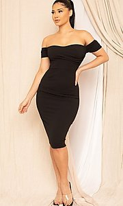 Image of sweetheart off-the-shoulder midi party dress. Style: FG-RTM-21-ID8029SP Detail Image 3