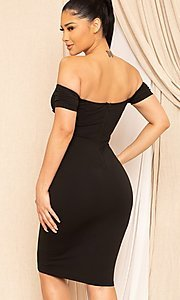 Image of sweetheart off-the-shoulder midi party dress. Style: FG-RTM-21-ID8029SP Detail Image 4