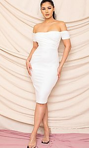 Image of sweetheart off-the-shoulder midi party dress. Style: FG-RTM-21-ID8029SP Front Image