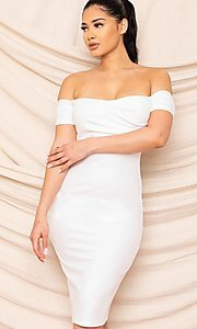 Image of sweetheart off-the-shoulder midi party dress. Style: FG-RTM-21-ID8029SP Detail Image 1