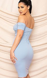 Image of sweetheart off-the-shoulder midi party dress. Style: FG-RTM-21-ID8029SP Detail Image 7