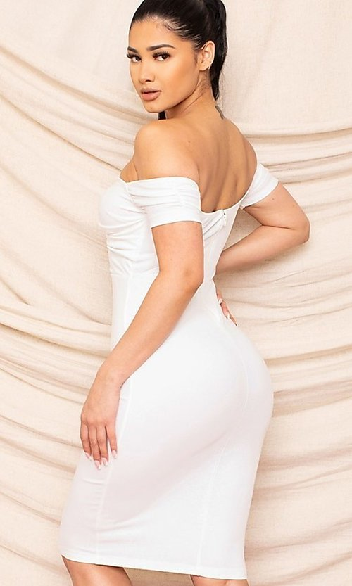 Image of sweetheart off-the-shoulder midi party dress. Style: FG-RTM-21-ID8029SP Back Image
