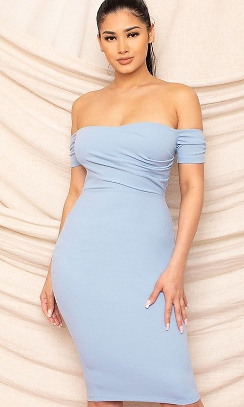 Image of sweetheart off-the-shoulder midi party dress. Style: FG-RTM-21-ID8029SP Detail Image 6