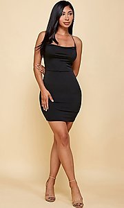 Image of cowl-neck short tight backless party dress. Style: FG-TVS-21-VD7292 Detail Image 6