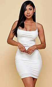 Image of cowl-neck short tight backless party dress. Style: FG-TVS-21-VD7292 Front Image