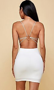 Image of cowl-neck short tight backless party dress. Style: FG-TVS-21-VD7292 Back Image