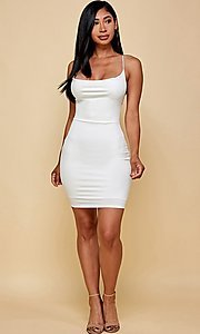 Image of cowl-neck short tight backless party dress. Style: FG-TVS-21-VD7292 Detail Image 2