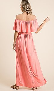 Image of off-the-shoulder popover casual maxi dress. Style: FG-OST-21-A67297-BX-CPR Back Image