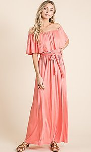 Image of off-the-shoulder popover casual maxi dress. Style: FG-OST-21-A67297-BX-CPR Detail Image 2
