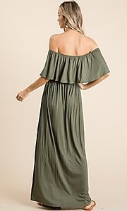 Image of off-the-shoulder popover casual maxi dress. Style: FG-OST-21-A67297-BX-CPR Detail Image 4