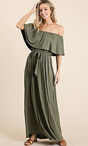 Image of off-the-shoulder popover casual maxi dress. Style: FG-OST-21-A67297-BX-CPR Detail Image 6