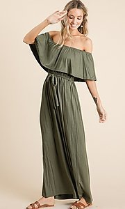 Image of off-the-shoulder popover casual maxi dress. Style: FG-OST-21-A67297-BX-CPR Detail Image 8