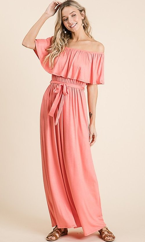 Image of off-the-shoulder popover casual maxi dress. Style: FG-OST-21-A67297-BX-CPR Front Image