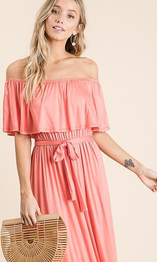 Image of off-the-shoulder popover casual maxi dress. Style: FG-OST-21-A67297-BX-CPR Detail Image 1