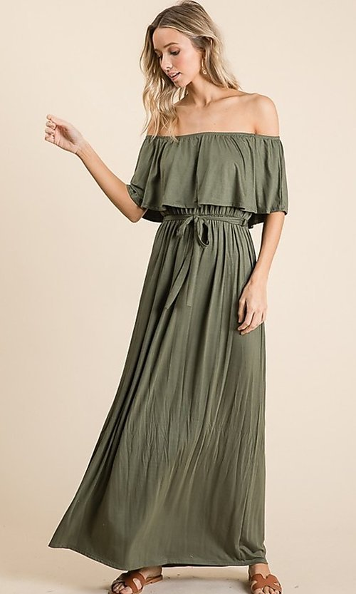 Image of off-the-shoulder popover casual maxi dress. Style: FG-OST-21-A67297-BX-CPR Detail Image 7