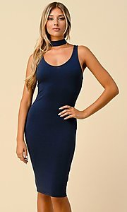Image of navy short semi-formal party dress with choker. Style: LAS-HAH-21-JD19553 Front Image
