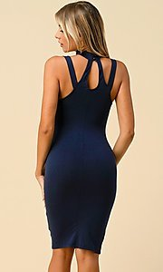 Image of navy short semi-formal party dress with choker. Style: LAS-HAH-21-JD19553 Back Image