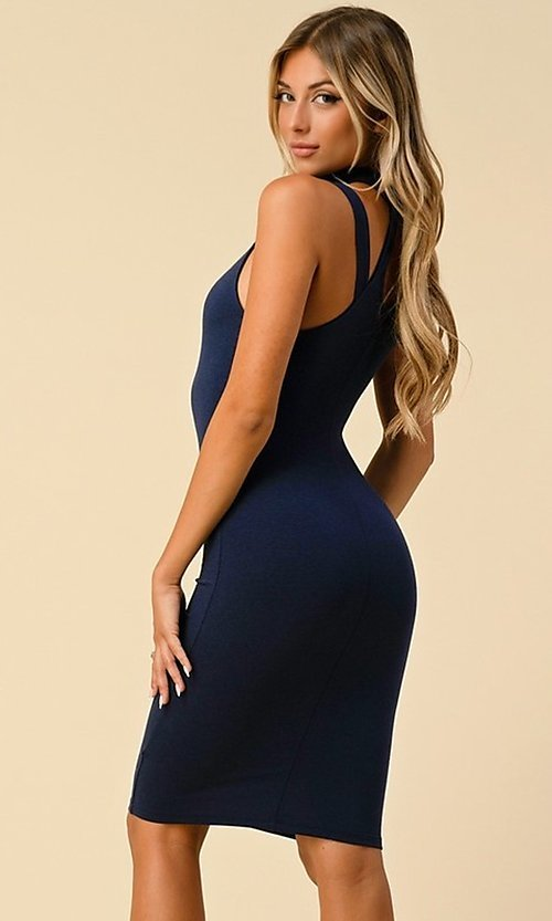 Image of navy short semi-formal party dress with choker. Style: LAS-HAH-21-JD19553 Detail Image 1