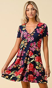 Image of short sleeve floral-print short casual party dress. Style: LAS-HAH-21-JD32907P Detail Image 3