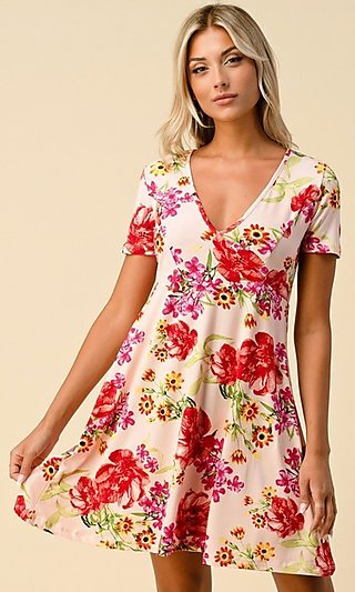 Short Sleeve Floral-Print Short Casual Party Dress