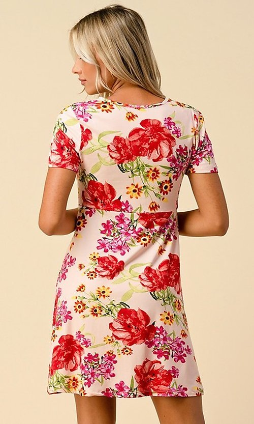 Image of short sleeve floral-print short casual party dress. Style: LAS-HAH-21-JD32907P Back Image