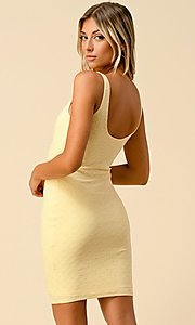 Image of eyelet jacquard short bodycon casual party dress. Style: LAS-HAH-21-JD43168A Detail Image 4