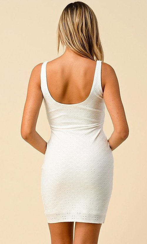 Image of eyelet jacquard short bodycon casual party dress. Style: LAS-HAH-21-JD43168A Back Image