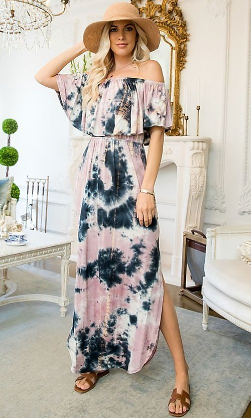 Image of mauve long casual tie-dye maxi dress. Style: LAS-SWE-21-SD5351 Front Image