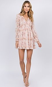 Image of blush pink floral print short casual party dress. Style: FG-FNC-21-EKD2287 Detail Image 3