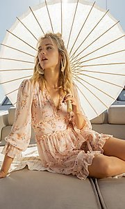 Image of blush pink floral print short casual party dress. Style: FG-FNC-21-EKD2287 Detail Image 4