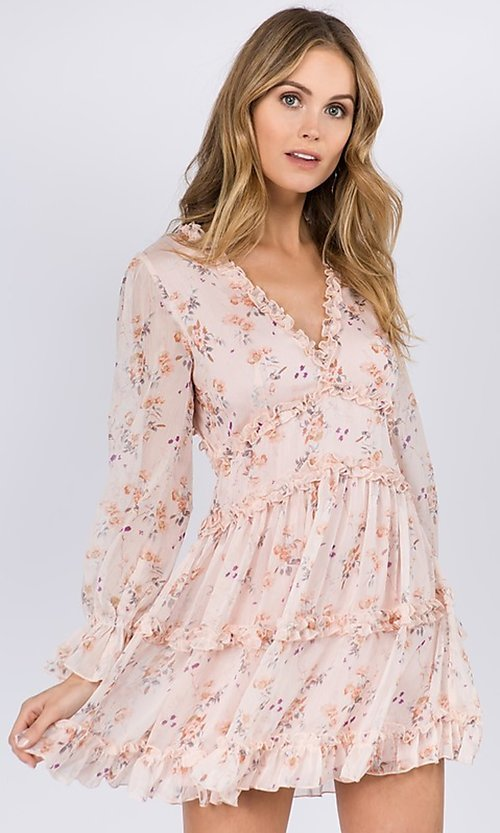 Image of blush pink floral print short casual party dress. Style: FG-FNC-21-EKD2287 Front Image