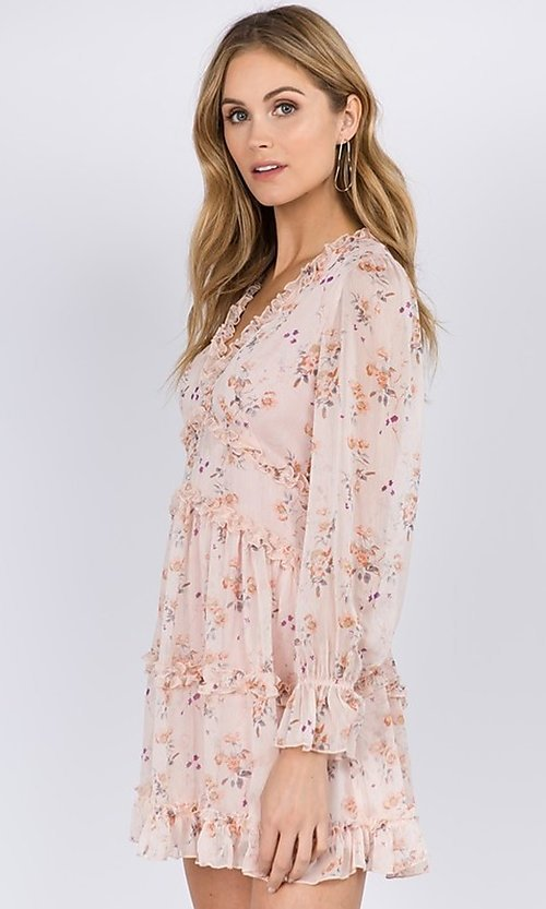 Image of blush pink floral print short casual party dress. Style: FG-FNC-21-EKD2287 Detail Image 1