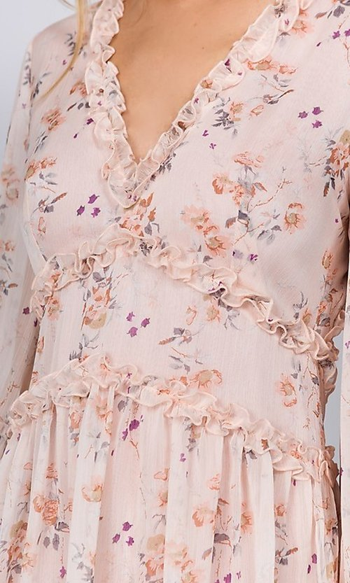 Image of blush pink floral print short casual party dress. Style: FG-FNC-21-EKD2287 Detail Image 2