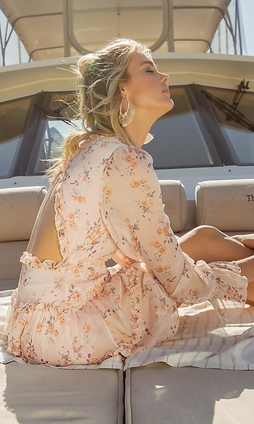 Image of blush pink floral print short casual party dress. Style: FG-FNC-21-EKD2287 Detail Image 5