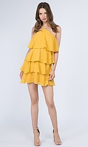Image of short casual summer dress with tiers. Style: FG-FNC-21-EKD2247Y Detail Image 8