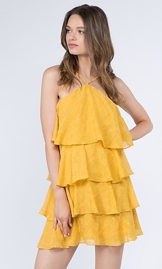 Tiered Short Textured Ruffle Party Dress