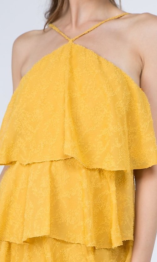 Image of short casual summer dress with tiers. Style: FG-FNC-21-EKD2247Y Detail Image 7