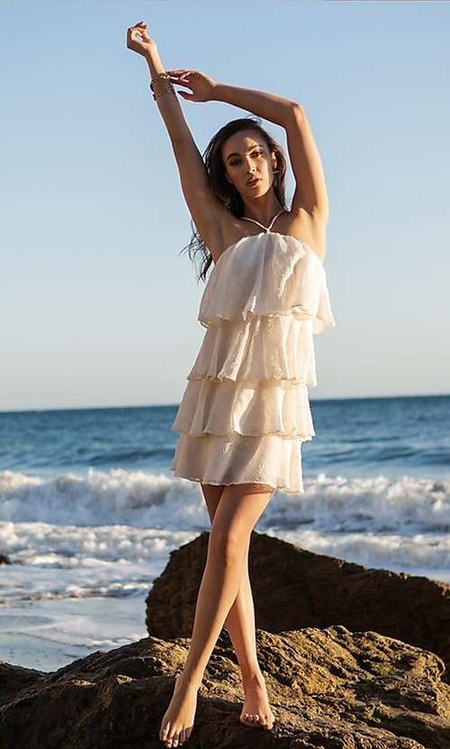 Image of short casual summer dress with tiers. Style: FG-FNC-21-EKD2247Y Front Image