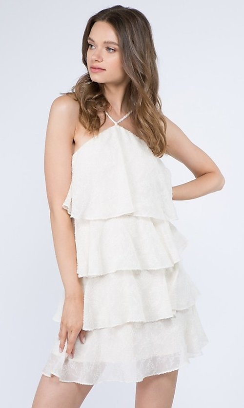 Image of short casual summer dress with tiers. Style: FG-FNC-21-EKD2247Y Detail Image 1