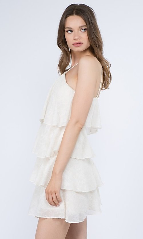Image of short casual summer dress with tiers. Style: FG-FNC-21-EKD2247Y Detail Image 2