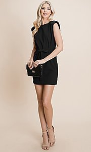 Image of semi-formal mini dress with shoulder pads. Style: FG-RLP-21-RP10793 Detail Image 2