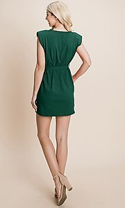 Image of semi-formal mini dress with shoulder pads. Style: FG-RLP-21-RP10793 Detail Image 6