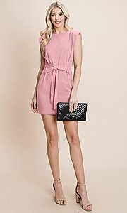 Image of semi-formal mini dress with shoulder pads. Style: FG-RLP-21-RP10793 Detail Image 1