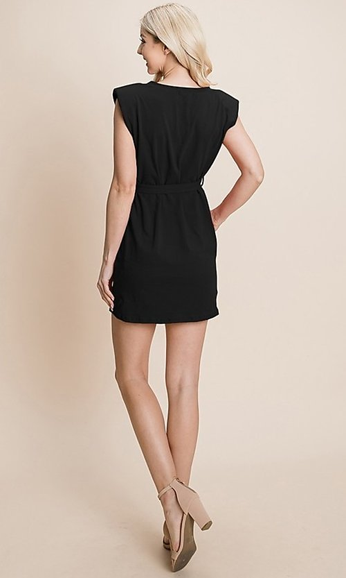 Image of semi-formal mini dress with shoulder pads. Style: FG-RLP-21-RP10793 Detail Image 3