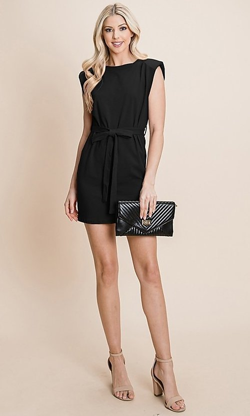 Image of semi-formal mini dress with shoulder pads. Style: FG-RLP-21-RP10793 Detail Image 4