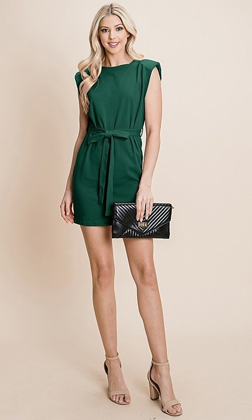 Image of semi-formal mini dress with shoulder pads. Style: FG-RLP-21-RP10793 Detail Image 5