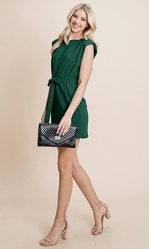 Image of semi-formal mini dress with shoulder pads. Style: FG-RLP-21-RP10793 Detail Image 7