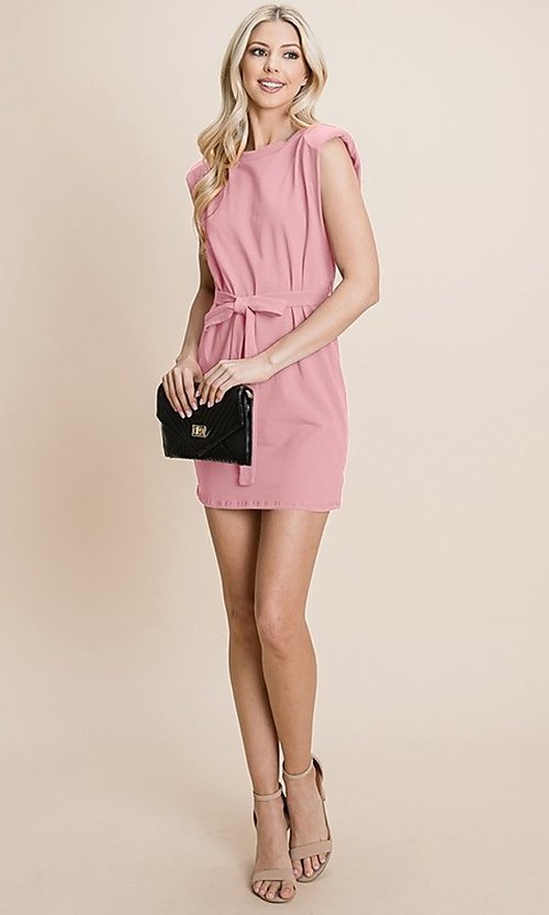 Image of semi-formal mini dress with shoulder pads. Style: FG-RLP-21-RP10793 Front Image