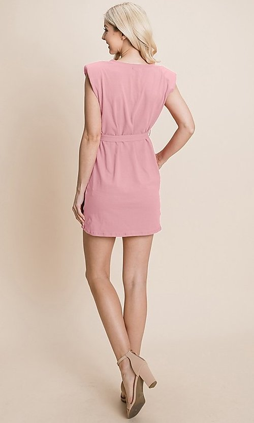Image of semi-formal mini dress with shoulder pads. Style: FG-RLP-21-RP10793 Back Image