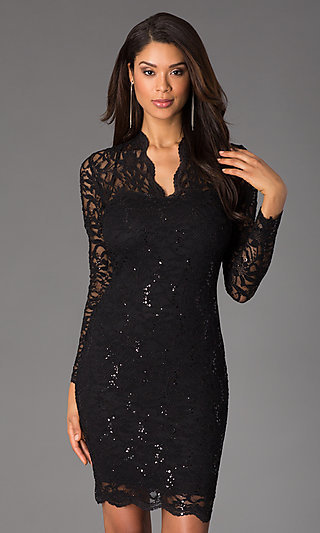 Black Long Sleeve Fitted Lace Cocktail Dress